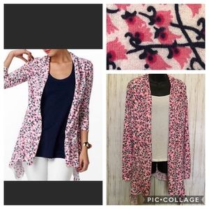 Lilly Pulitzer Pink Floral Open Face Long Cardigan